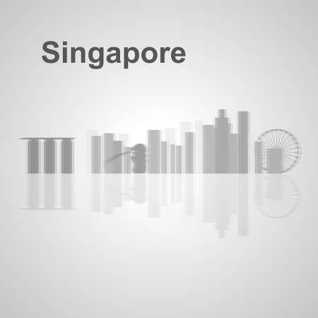 Singapore skyline per la progettazione, concetto illustrazione. Archivio Fotografico - 48545672
