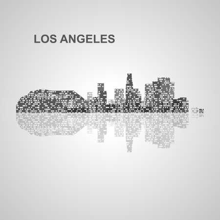 Skyline di Los Angeles per la progettazione, concetto illustrazione. Archivio Fotografico - 48545915