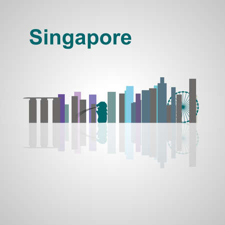 Singapore skyline per la progettazione, concetto illustrazione. Archivio Fotografico - 49912326
