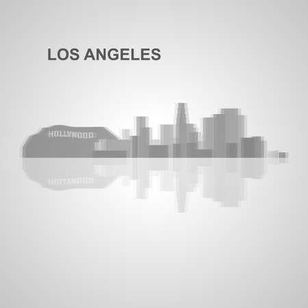 Skyline di Los Angeles per la progettazione, concetto illustrazione. Archivio Fotografico - 49912331