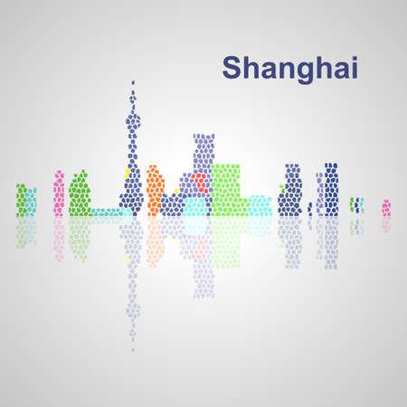 Skyline di Shanghai per la progettazione, concetto illustrazione. Archivio Fotografico - 50903421