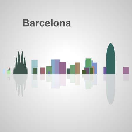 Skyline di Barcellona per il vostro disegno, concetto illustrazione. Archivio Fotografico - 52937846