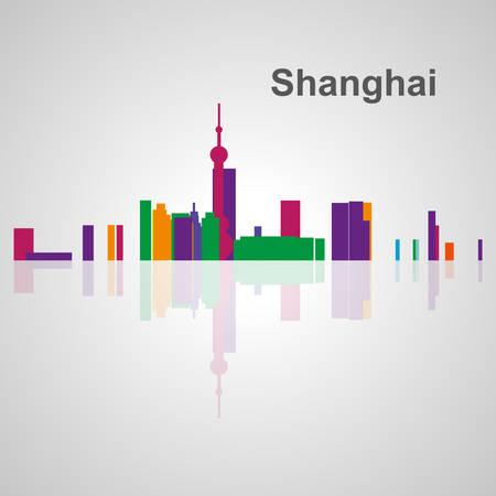 Skyline di Shanghai per la progettazione, concetto illustrazione. Archivio Fotografico - 54579056