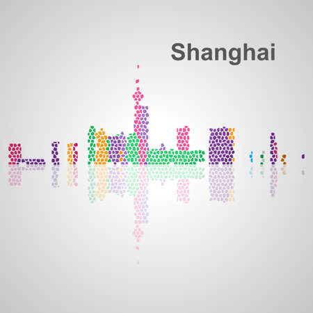 Skyline di Shanghai per la progettazione, concetto illustrazione. Archivio Fotografico - 54579059