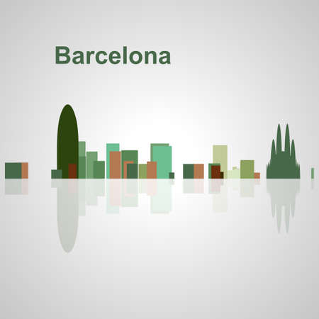 Skyline di Barcellona per il vostro disegno, concetto illustrazione. Archivio Fotografico - 57015602