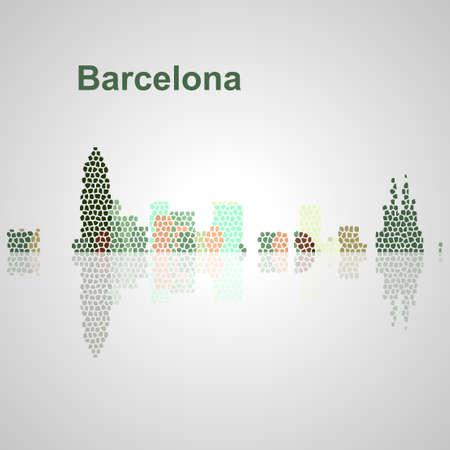 Skyline di Barcellona per il vostro disegno, concetto illustrazione. Archivio Fotografico - 57015605