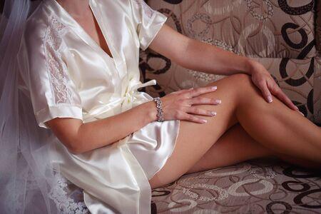 bride in a beautiful white lingerie