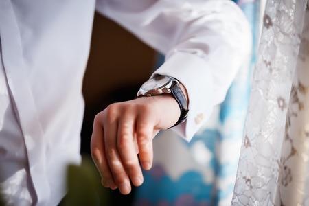 a man wearing a white shirt elegant for wedding Stock Photo