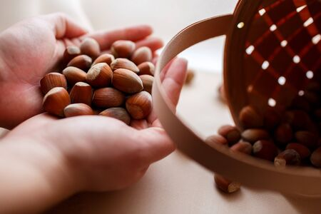 many nuts fell out of the basket Stock Photo