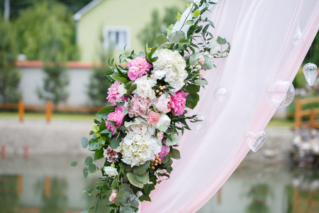 romantic and delicate decoration for wedding marriage ceremony in the open air