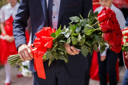 luxurious bouquets of roses for a romantic rendezvous couples Stock Photo