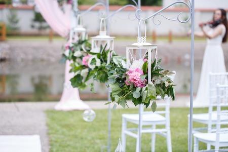 Romantische Und Zarte Dekoration Fur Hochzeitsfeier Zeremonie Im
