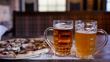 beer and pizza in a brasserie