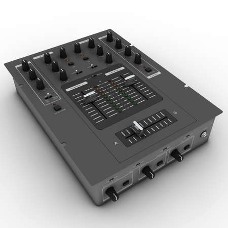 crossfader: dj battle mixer close up, isolated on white