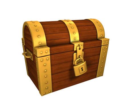 cofre del tesoro: cofre del tesoro encerrado, con cerradura, oro y metal, aislado en blanco Foto de archivo