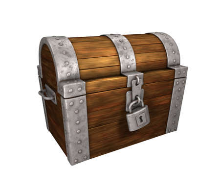 pirate treasure: treasure chest locked, with lock, wood and metal, isolated on white