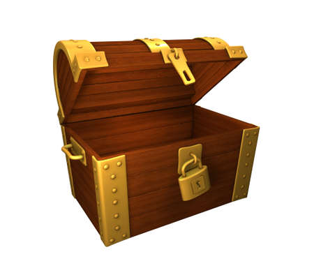 treasure chest, open and empty, gold and metal, isolated on white photo