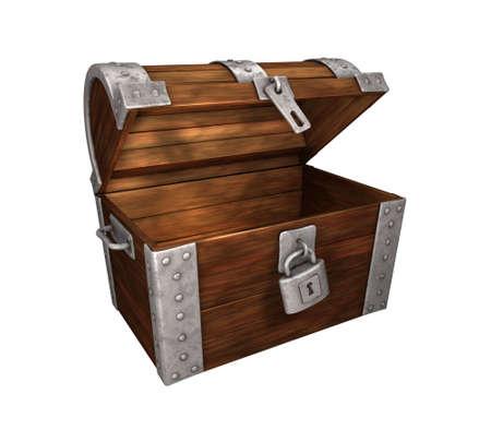 cofre tesoro: cofre del tesoro, abierto y vac�o, de madera y metal, aislado en blanco Foto de archivo