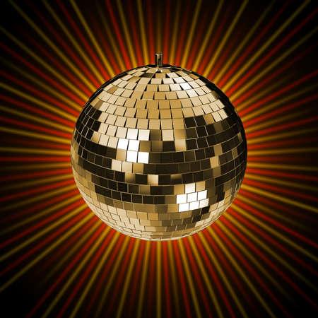 disco mirrorball: Disco Mirrorball, Discoball, with golden background