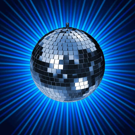mirrorball: Disco Mirrorball, Discoball, on blue background