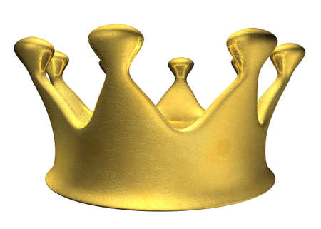 golden crown, 3d cartoon comic style, isolated on white photo