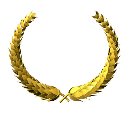 wreath: golden Laurel Wreath, Victory Award Symbol, isolated on white