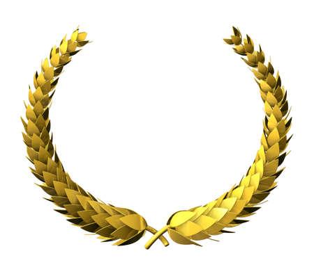 laureles: Guirnalda del laurel de oro, Premio Victoria s�mbolo, aislado en blanco