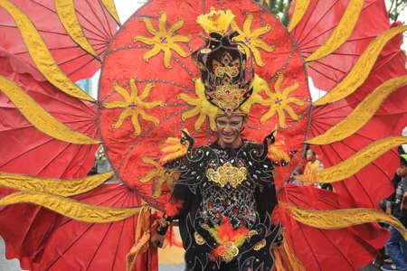commemorating: mat flower parade in Surabaya commemorating the anniversary of the city of Surabaya