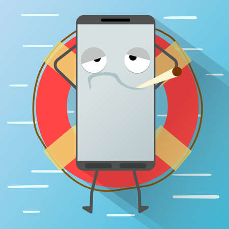 relaxed: Relaxed smartphone on lifebuoy