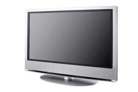 entertaiment: isolated high end silver flat LCD television,