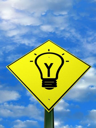 mastery: a warning sign with a light bulb