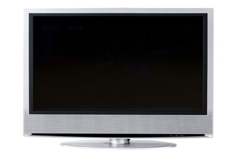 Front view of an isolated high end silver flat LCD television, Stock Photo - 464453