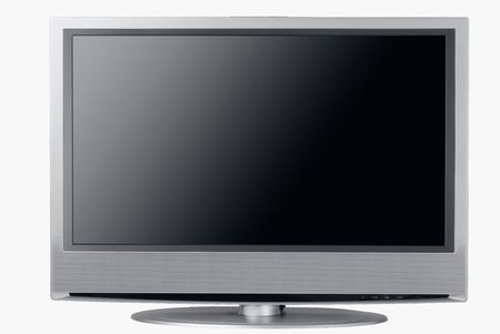 entertaiment: Front view of an isolated high end silver flat LCD television,
