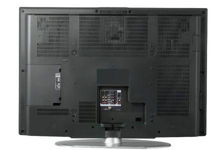 high end: La vista posterior de una televisi�n alta del LCD del extremo