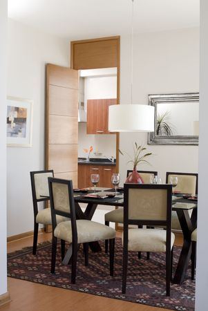 dinning: modern house interior showing  dinning room and part of kitchen Stock Photo