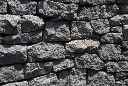 close up and detail  of gray stone wall of different sizes photo