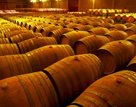 wineyard: wine barrels in wineyard cellar  Stock Photo