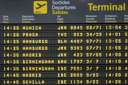timetable: departure timetable at the barcelona airport