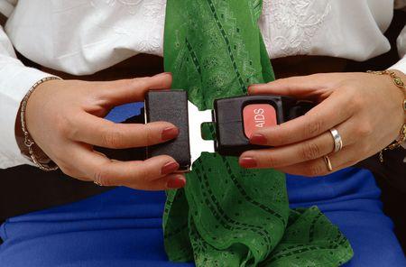 fasten: woman locking a fasten belt Stock Photo