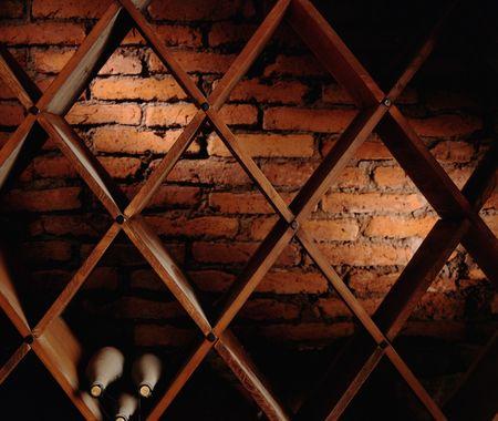 almost: almost empty wine cellar Stock Photo