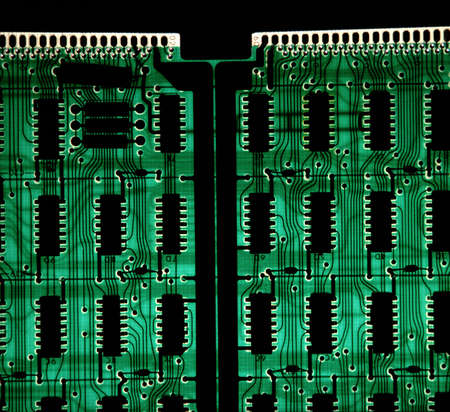 backlighted green circuit board photo