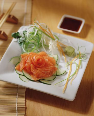 soja: sashimi over a table, with chopsticks and soja sauce Stock Photo