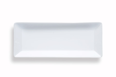 concave: blank rectangular sushi dish over white background with shadow Stock Photo