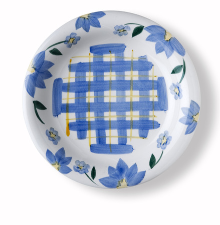 concave: empty flower decorated dish over white background with shadow