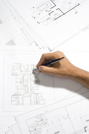 tabulation: hand writing on a blueprint Stock Photo