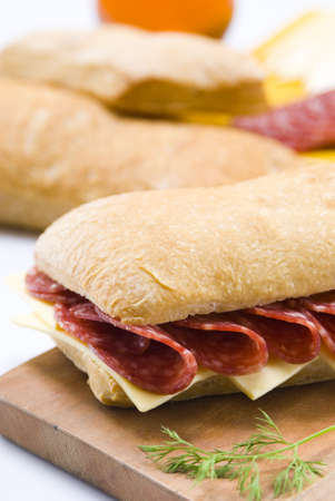 salami and cheese sandwich still life photo