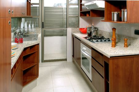 modern brand new house kitchen photo