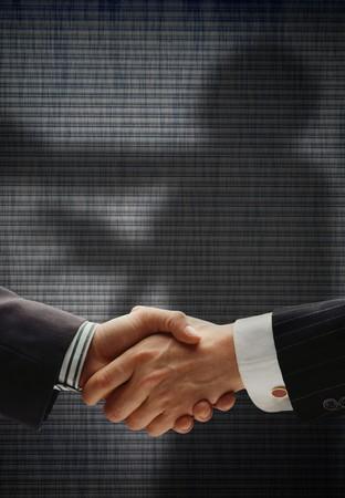 pacto: negocio apret�n de manos con sombras detr�s de mostrar verdaderas intenciones, que muestra a un hombre que se ahorc� por el cuello
