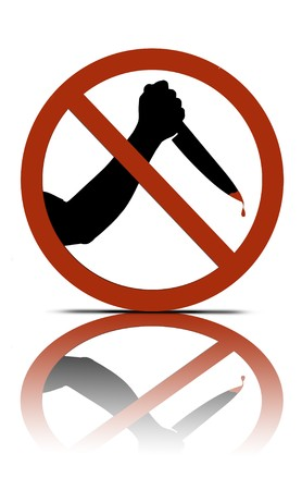 assasin: a no murder symbol, over white with reflections  Stock Photo