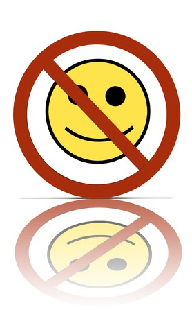 a no happiness symbol, over white with reflections Stock Photo - 3947607